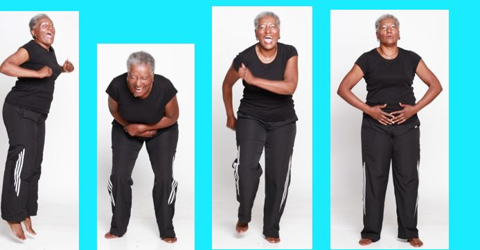 Four poses of Josie doing laughter yoga