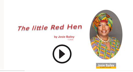 Josie Bailey's Video - Red Hens. Image has the letters 'Red Hens' centered of the left side of the banner. Josie's headshot picture is on the right